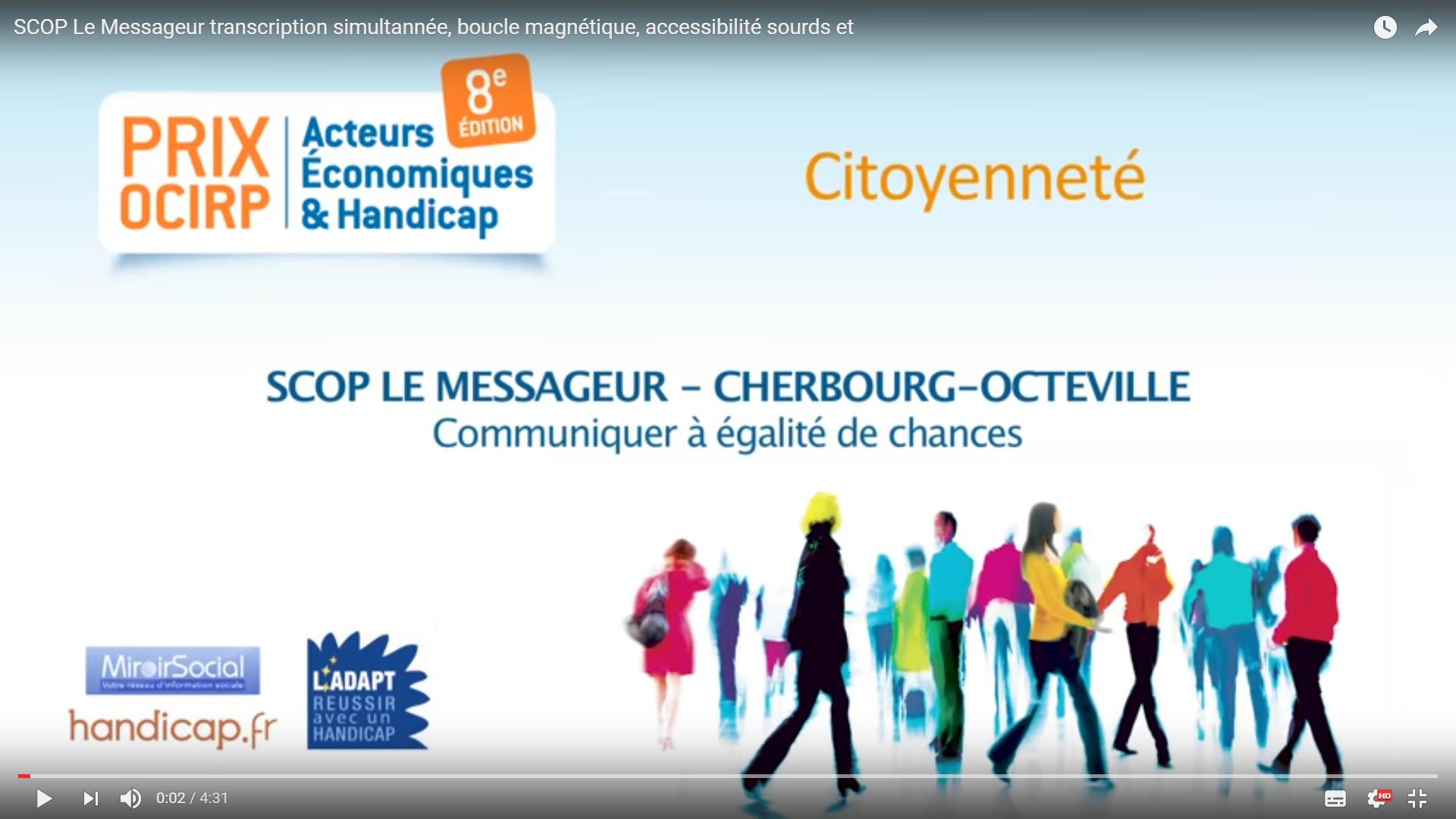 Le Messageur Lauréat Du Prix OCIRP Exemple à Suivre Catégorie Citoyenneté