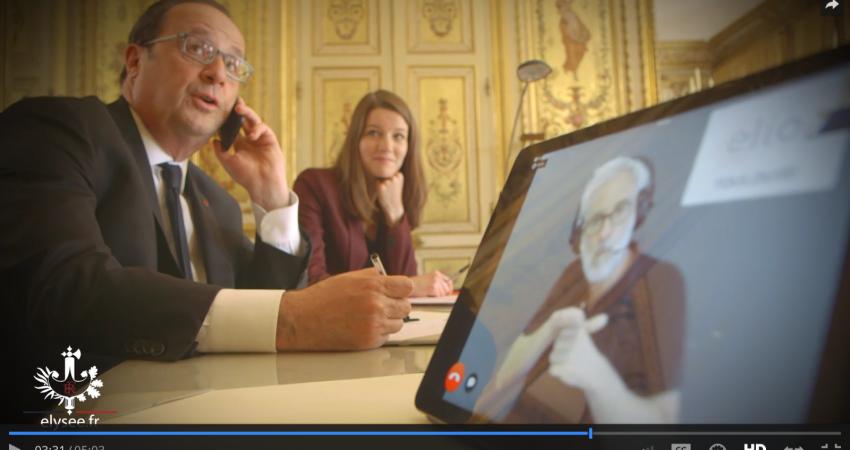 F. Hollande Expérimente L'application Téléphonique ELIOZ