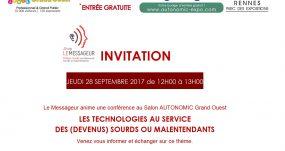Invitation à Notre Conférence Accessible Le 28/09/2017 De 12h00 à 13h00 Au Salon Autonomic Ouest.