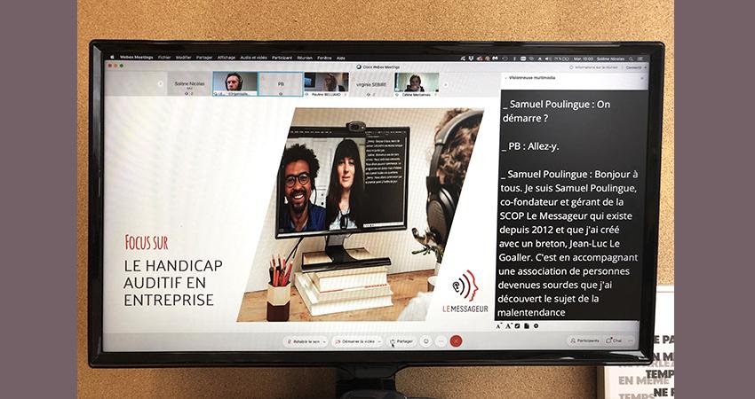 Webinaire de Cap Emploi 14 sur le thème du handicap auditif en entreprise - réalisé avec un sous-titrage en direct